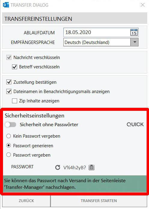 Passwortgeschützte E-Mail - Passwort generieren