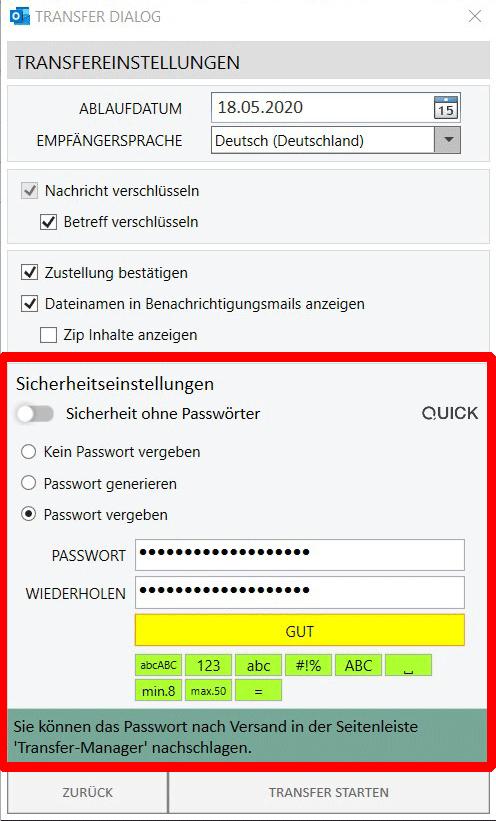 Passwortgeschützte E-Mail - Passwort manuell vergeben