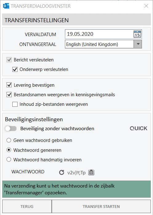 Wachtwoordbeschermde Email - Waachtwoord genereren