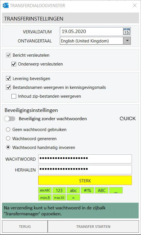 Wachtwoordbeschermde Email - Wachtwoord handmating invoeren