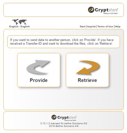 Screenshot of Cryptshare web-interface.